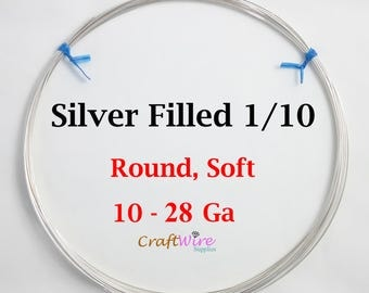 1/10 Sterling Silver FILLED Wire, Round, Dead Soft, 10 12 14 16 18 20 21 22 24 26 28 Gauge, Jewelry Making Wire