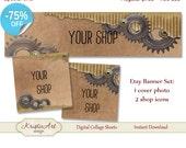 75 % de RÉDUCTION VENTE bannière (photo de couverture) + Boutique icônes - #L011 ensemble. Collage numérique de la boutique Etsy de bannière Steampunk numérique feuille bannière marron