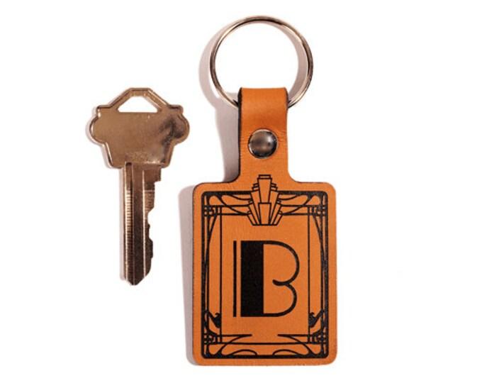 ART DECO KEYRING – Initial Keyring – Laser Engraved Leather Keychain