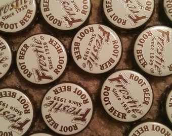 100 Frostie root beer bottle caps NO DENTS