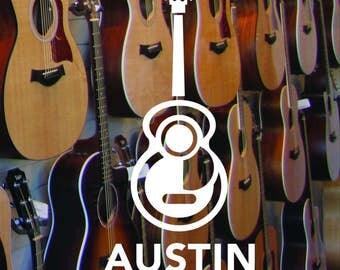 Austin Texas Guitar Sticker