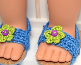 "18"" Doll Blue Crocheted Sandals With Lime Colored Flower"