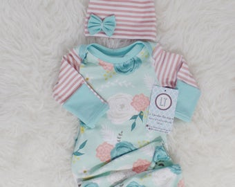 Baby girl coming home outfit // Knotted newborn gown // Mint floral/blush stripes new baby gown // baby girl clothes // Baby shower gift