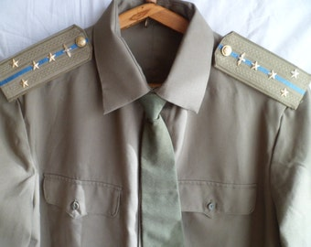 Military shirt Soviet Army Air Force Captain  with epaulets and tie.
