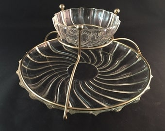 Antique Glass Swirl Chip and Dip Set