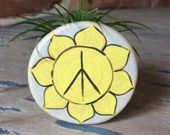 Sunshine Mini Planter, Peace planter, Air plant holder, Ceramic Planter, Handmade Planter, Air Plant, Tillandsia, Airplant