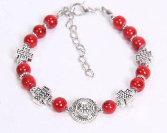 Tibetan silver red fashion beaded bracelet