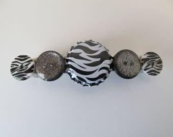 Zebra Print Bottle Cap Button Barrette, Birthday Gifts, Gifts for her, Gifts for girls, Gifts for teens, Button barrettes, Hair Accessories