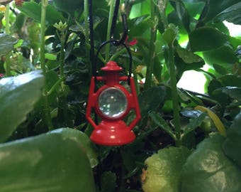 Miniature Lantern Red fairy garden accessories w/hook for terrarium miniature garden fairy garden mini garden potted plant mini decoration
