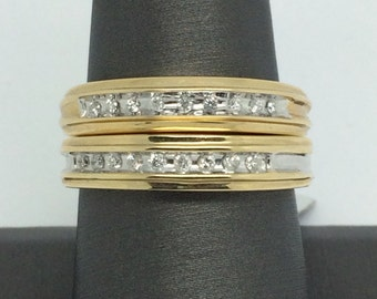 14K Two-Tone Gold Wedding Set with Natural Diamond