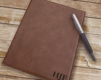 Personalized Leatherette Portfolio Dark Brown Leatherette Monogram Portfolio Choose 1, 2, Or 3 Initials