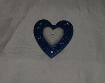 Swarovski heart magnet with glitter