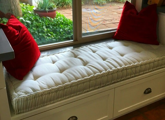 Custom Bench Cushion Charcoal Ticking Stripe Window Seat