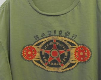 A  Vintage 90's,Olive Green,Short Sleeve MAD For BIKES In MADISON T Shirt By Anvil.2X