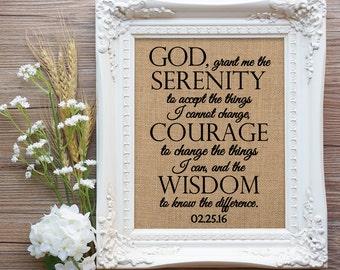 Serenity Prayer Burlap Gift, Serenity Prayer Gift, Sobriety Gift, Sobriety Anniversary Gift, AA Anniversary Gift, Recovery Gift, NA Gift