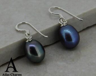 Peacock Pearl Drop Hook Long Earrings 925 Sterling Silver women jewellery Atlas Charm Free Shipping in UK