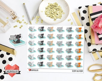 Scoop the Poop Planner Stickers | Kitty Litter Reminder Stickers for use in your Erin Condren Planner, Happy Planner, etc.
