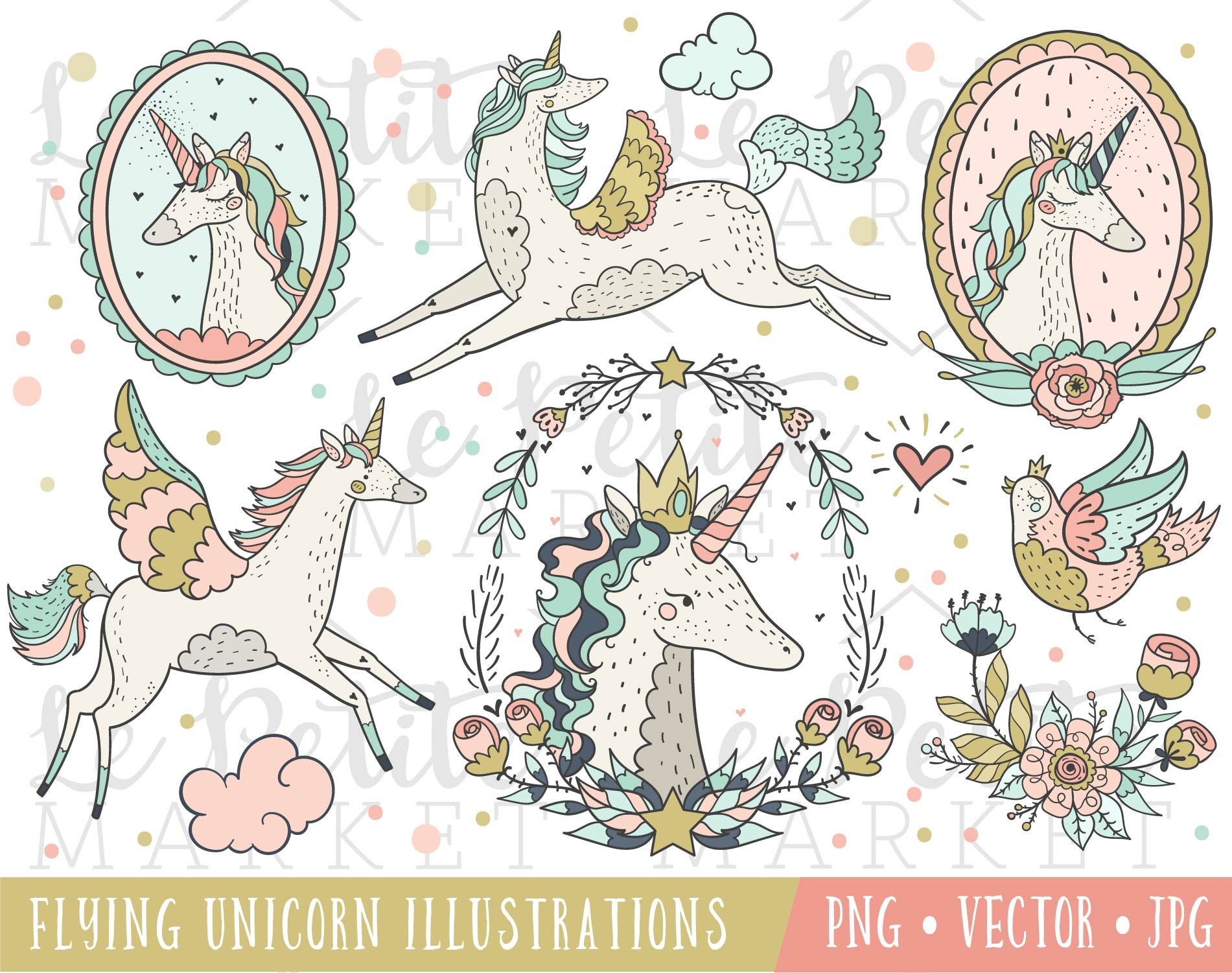 hand drawn magical unicorn clipart set unicorns with wings