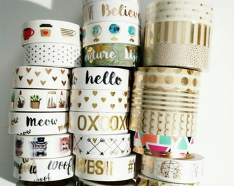 "Washi Tape-24"" Sample/ gold foil washi tape/cats/hearts/globe/succulents/hobby lobby"