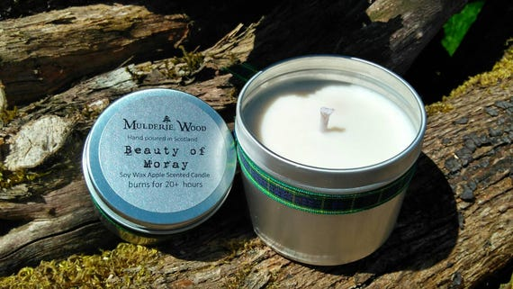 Apple 'Beauty of Moray' Scented Natural Soy Wax Handmade in Scotland Tin Candle