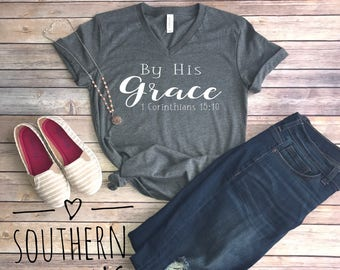 By His Grace V-neck tee