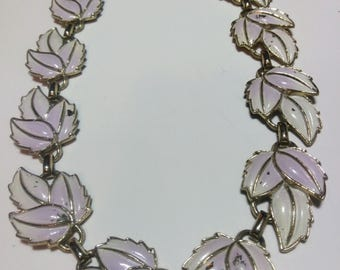 Vintage Silver Toned Lavender Leaf Necklace