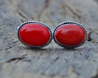 Oval Cab Red Coral Gemstone 925 Sterling silver Cufflinks, Handmade Men's gift Jewelry, Birthstone Red Coral Cufflinks