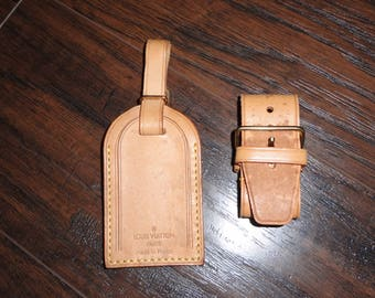 Vintage LOUIS VUITTON Luggage tag strap set vachetta leather stained used Travel handbag accessories