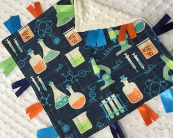 Personalized Tag Blanket Sensory Ribbon Blanket Lovey- Science Chemistry Biology and Minky Dot