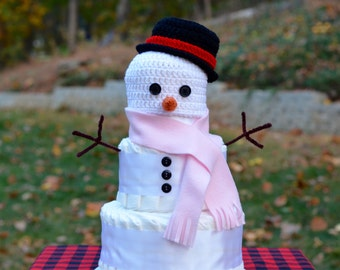 Baby It's Cold Outside Decoration - Winter Baby Shower Decoration - Snowman Diaper Cake - Frosty the Snowman Hat - Snowman Hat - For Girl