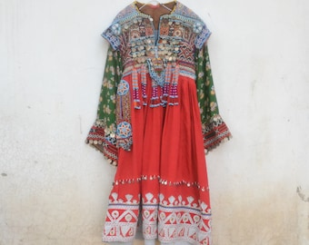 Gypsy Afghani dress, tribal, red maxi, beaded with brocade, coins, bells and tassels Pakistani kuchi Indian traditional nomad dress
