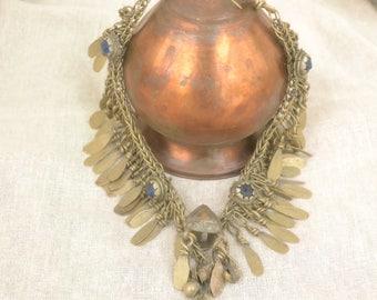 Vintage Pakistan tribal choker, primitive necklace, gypsy jewelry, kuchi, ethnic,