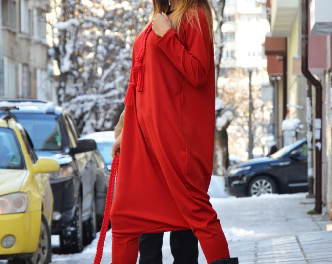 Extravagant Plus Size Overall, Elegant Womens Romper, Loose Jumpsuit With Belt, Sexy Drop Crotch Red Jumpsuit By SSDfashion