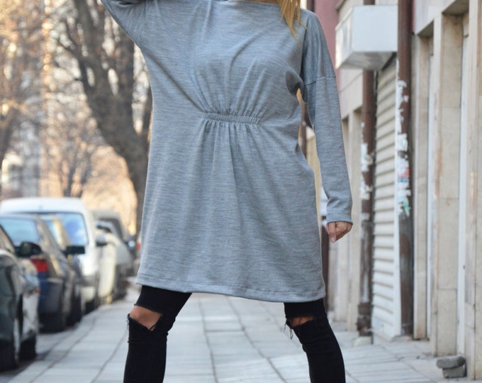 Maxi Grey Cotton Knitting Dress, Sexy Oversized Winter Dress, Plus Size Clothing, Midi Dress By SSDfashion