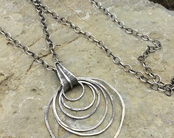Circle Necklace, Hammered Silver Hoop, Silver Circle Pendant