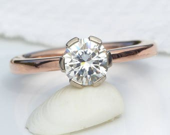 Size M (US 6) Moissanite Engagement Ring in 18ct Rose and White Gold | Eco Friendly
