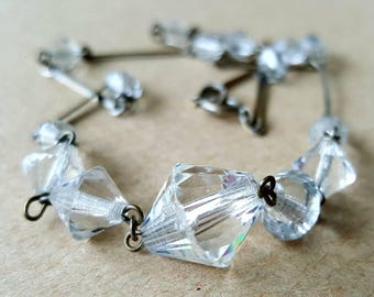 Vintage Art Deco 1930s White Clear Faceted Bead Necklace Silver Tone Link Wire Spacer