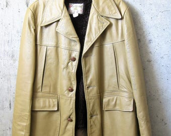 Vintage Mens 1970s Leather Coat Liner Canadian Tan Caramel Detailing Leathermate Clothes of Distinction Style-Kraft Sportswear