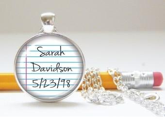 Custom neckace, custom keychain, custom name jewelry, personalized, gift for teacher, gift for student, gift for writer, school charm