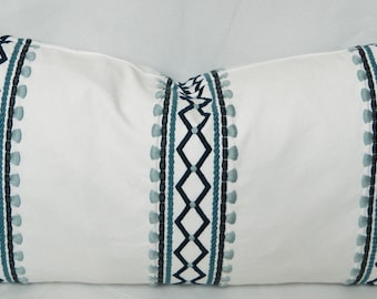 Robert Allen Madcap Cottage Viva Acapulco Indigo -Decorative Throw Pillow Cover, Lumbar Pillow Cover / Embroidered on Cotton Fabric