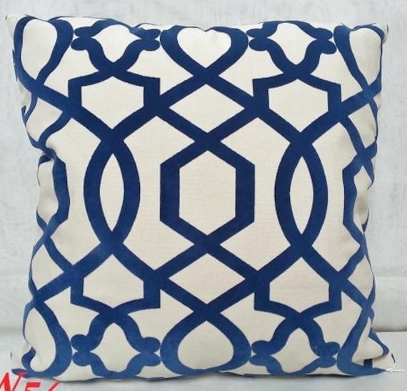 Blue Lattice Throw Pillow : IMAN Sultana Lattice Decorative Pillow Cover with Blue