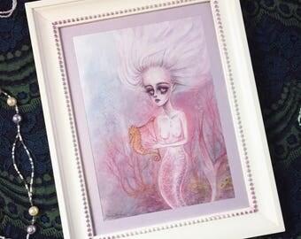 Ghost Mermaid - framed original artwork by zomgelbird - pastel drawing painting