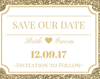 Glitter and Glam Save the Date Digital Download