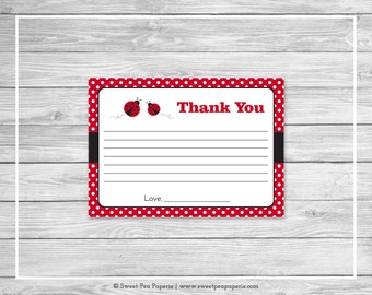 Ladybug Baby Shower Thank You Cards - Printable Baby Shower Thank You Cards - Ladybug Baby Shower - Baby Shower Thank You Cards - SP140