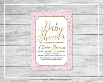 Pink and Gold Baby Shower Invitation - Printable Baby Shower Invitation - Pink and Gold Confetti Baby Shower - Baby Shower Invitation- SP145