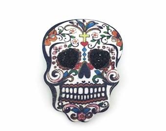 Sugar Skull Brooch, Sugar Skull Jewellery, Black Heart Brooch, Skull Accessory, Sugar Skull Ladies Gift, Alternative Brooch, Day of the Dead