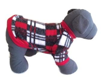Fleece Dog Sweater, Fleece Dog Shirt, Plaid Dog Sweater, Small Dog Clothes, Winter Dog Clothes, Red Dog Sweater, Dog Pullover, Dog Sweater