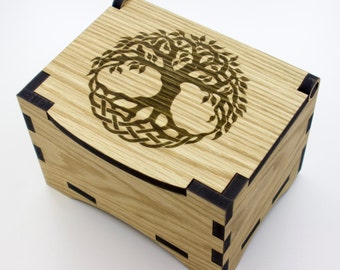 Oak Box with hinged lid for jewellery keepsakes and memory box Tree of Life Design