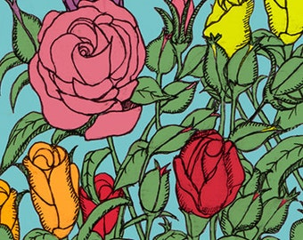 Rose Greeting card, illustration, slightly oriental, flowers.