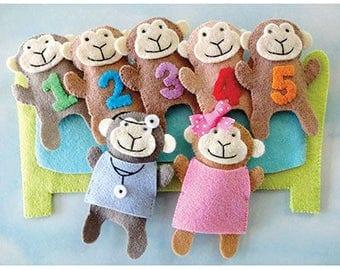 NEW!  5 Little Monkeys Finger Puppet Set RES0351
